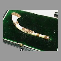 Antique English 1913 15k 15ct Gold MARY Bone Brooch in Box