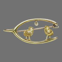 Antique Victorian c1900 9k 9ct Gold Seed Pearl Chick Lucky Wishbone Brooch