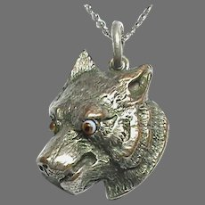 Antique Victorian Silver Plated FOX Pendant with bead eyes