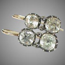 Antique Georgian 9k 9ct Gold Sterling Silver Paste Earrings