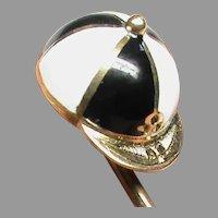 Antique Victorian 15k 15ct Gold Enamel Jockey Cap Stickpin