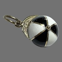 Antique Victorian 15k 15ct Gold Enamel Jockey Cap Charm