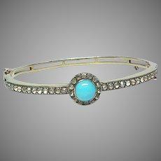 Antique Edwardian Sterling Silver gilt Turquoise & Paste Bangle