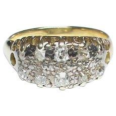 Antique 18k 18ct Gold 2 row Diamond Ring