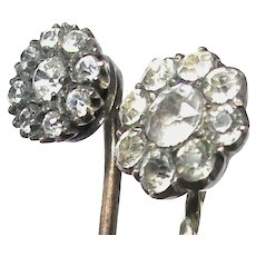 Pair of Antique 19th century 9k 9ct Gold and Sterling Silver Paste Stickpins Stick Pin