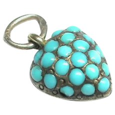 Antique Victorian Sterling Silver Turquoise Heart Charm with gold locket back