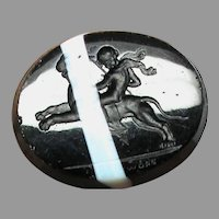Antique Georgian Glass Intaglio Tassie Seal Eros riding a lion faux banded agate