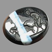 Antique Georgian Glass Intaglio Tassie Seal DEVIL pushing Eros in a wheelbarrow faux banded agate