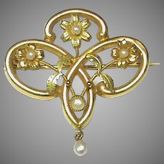 Antique Art Nouveau French 18k 18ct 2 color Gold Seed Pearl Brooch