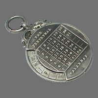 Antique Edwardian 1901 Sterling Silver Perpetual Calendar Fob