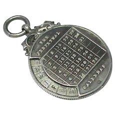Antique Edwardian 1901 Sterling Silver Perpetual Calendar Fob