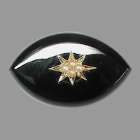 Antique Victorian Gold Onyx & Seed Pearl Brooch