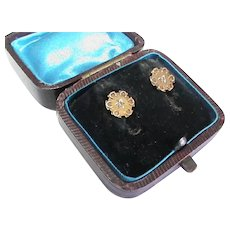 Antique Victorian 15k 15ct Gold Diamond Earrings in Box