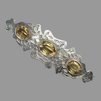 Large Antique Victorian Sterling Silver Citrine Brooch
