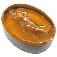 Antique 19th Century Loose Glass Cherub Cupid Intaglio Seal