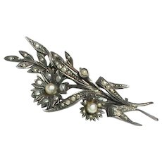 Antique Victorian Sterling Silver Seed Pearl Flower Brooch