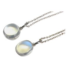 A Pair of Vintage Sterling Silver Moonstone Pendant Necklaces
