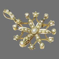 Antique Victorian 9k 9ct Gold Seed Pearl Brooch Pendant