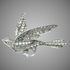Large Antique Victorian French Silver 800-900 Paste Bird Brooch