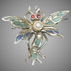Antique Art Nouveau French Silver 800-900 Plique-a-jour Enamel Paste Dragonfly Brooch
