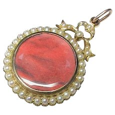 Quality Antique Victorian 15k 15ct Gold Seed Pearl Locket Pendant