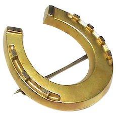 Antique Victorian 1887 15k 15ct Gold Horseshoe Brooch