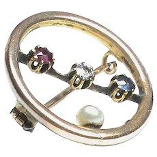 Antique English Edwardian 15k 15ct Gold Patriotic Ruby Diamond Sapphire & Pearl Brooch
