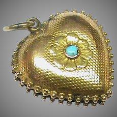Antique Georgian 15k 15ct Gold Turquoise Heart Locket