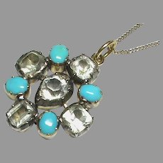 Antique Georgian 15k 15ct Gold Turquoise & Paste Pendant on 9ct chain