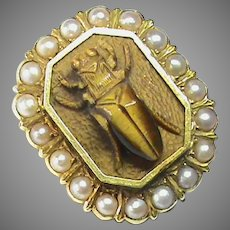Antique Victorian 15k 15ct Gold carved Tigers Eye & Seed Pearl BEETLE Brooch