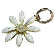 Antique Victorian 15k 15ct Gold Enamel seed pearl Flower Charm