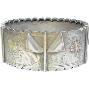 Antique Victorian Sterling Silver Cuff Bangle with applied gold decor