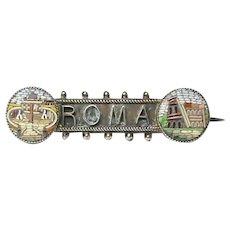 Antique Victorian Silver gilt Micro Mosaic ROMA Brooch