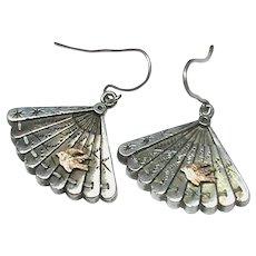 Antique Victorian Sterling Silver & Gold Fan Earrings