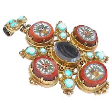 Antique Georgian 15k 15ct Gold Micro Mosaic Turquoise Mourning Locket Brooch Pendant