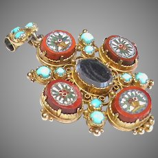 Antique Georgian 15k 15ct Gold Micro Mosaic Turquoise Mourning Locket Brooch Pendant