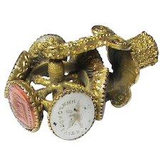 Antique Georgian gilt metal Intaglio Seal Wheel