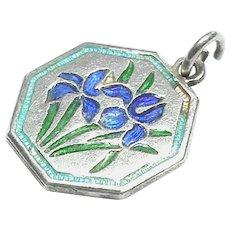 Vintage TLM Thomas Le Mott Sterling Silver Enamel IRIS Flower Charm - April