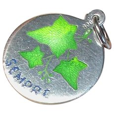Antique Victorian Silver 800 Enamel Charm - Italian Forever IVY