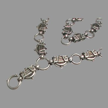 Unusual Antique Victorian Sterling Silver Collar Book Chain Necklace