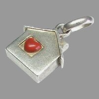 Vintage English 1965 Sterling Silver Enamel HOME IS WHERE THE HEART IS Charm
