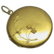 Big Antique Art Nouveau Gold Plated Locket