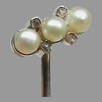 Antique Edwardian 12k 12ct Gold Seed Pearl & Diamond Stickpin