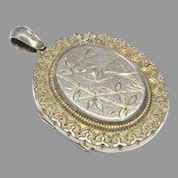 Antique Victorian 1882 Sterling Silver gilt Etched Locket Pendant