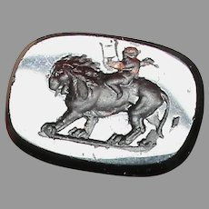 Antique Victorian Loose Glass Intaglio Tassie Seal LION CUPID