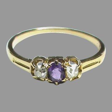 Antique Edwardian 18k 18ct Gold Amethyst & Diamond Ring