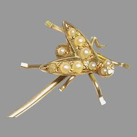 Antique Victorian 15k 15ct Gold Seed Pearl FLY Stickpin