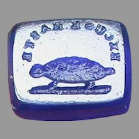 Antique Victorian Loose Glass Intaglio Tassie Seal EXCUSE HASTE Tortoise