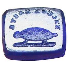 Antique Victorian Loose Glass Intaglio Tassie Seal EXCUSE HASTE Tortoise