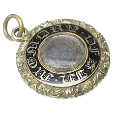 Antique Georgian Gold Enamel Mourning Pendant Inscribed 1832